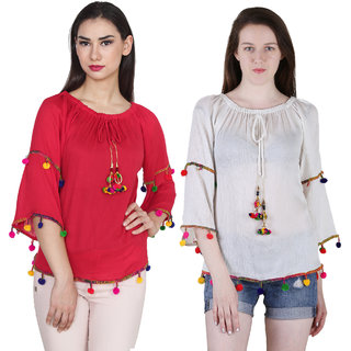 Jollify Branded Women's Red and White Top Combo Pack Of 2