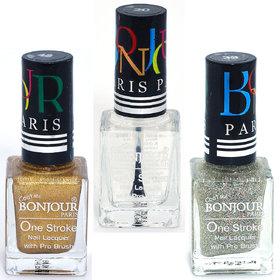Coat Me Bonjour Paris True Color Nail Polish - Gold / Top Coat / Silver, Pack of 3 (0.90 Oz)