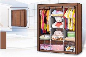 Ezzideals Fancy Fabric Fold-Able Multi Layer Storage Shelf Rack Foldable Wardrobes (Gray, Maroon, Purple) (Shelves 8)