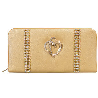 Louise Belgium Gold Plain Zipper Clutch
