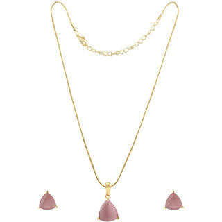 Spargz Royal Fashion Design Party Wear Gold Plated Pink Diamond Contemporary Pendant Set for Women AIPS 272