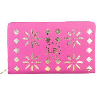 Louise Belgium Pink Plain Zipper Clutch