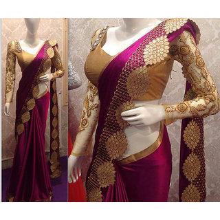 9e8771bd3ff819 Buy Wine Color Nylon Silk Saree Online   ₹1899 from ShopClues