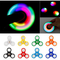 Set of 2 LED Light Fidget Spinner with Switch Plastic EDC Hand Spinner For ADHD Relief Focus Anxiety Stress Toys Gift.
