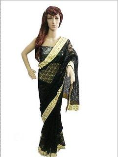 Saree Gold & Black Net Self Design Saree With Blouse