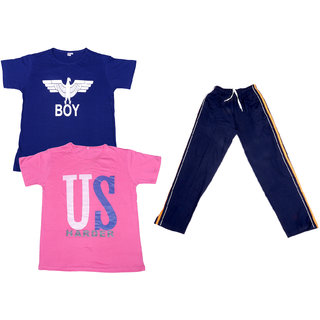 f73f98f1 Indiweaves Boys Super Soft Cotton Lower/Track Pants And Half Sleeves  Printed T-Shirts Combo (Pack Of 1 Lower And 2 T-Shirts)-Pink/Blue/Blue-10-11  Years