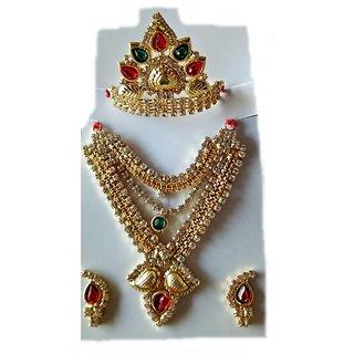 Stylish Mala Mukut Stone Jewellery Set Laddu Gopal Big Size Shringar Set With Free Poshak
