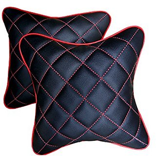 Pegasus Premium Black And Red Double Quilted Combo Set - Car Cushion Set (Set of 2 pieces) Maruti Celerio