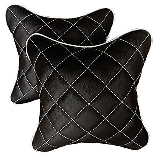Pegasus Premium universal Black And Silver Double Quilted Combo Set - Car Cushion Set (Set of 2 pieces) Maruti Brezza