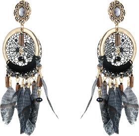 Intrend Forever Bohemian Printed Grey Feather Earrings for Women