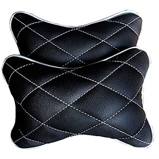 Pegasus Premium universal Black And Silver Double Quilted Combo Set - Car Neck Rests (Set of 2 pieces) Skoda Laura