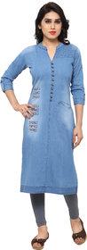 Kvsfab Blue Plain Denim Stitched Kurti