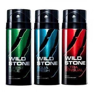 Wild Stone Combo of Aqua Fresh, Night Rider and Forest Spice Deodorants - 150 ml Each (pcs 3)