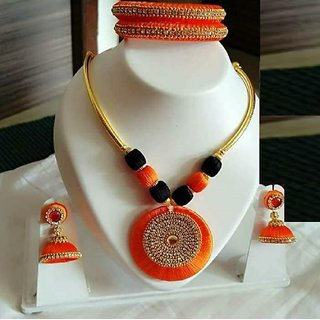 Silk Necklace With Drop Earrings