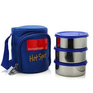 Bartan Shopee 3 Piece Office Steel Lunch Box