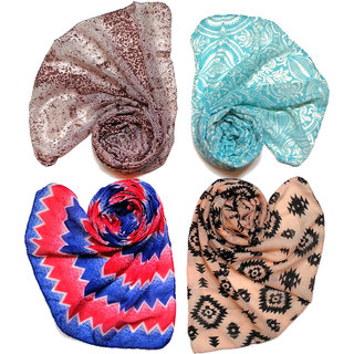 Printed Poly cotton set of Four Scarf and Stoles for women