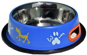 Petshop7 Blue 700 ML Medium Dog Bowl Stainless Steel Feeding Bowl