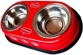 Petshop7 Red 500 Ml Dog Bowl Double Dinner Set Stainless Steel Feeding Bowl