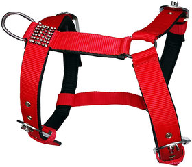 Petshop7 Export Quality Nylon Dog Harness Red with Black Padding 0.75 inch  Small
