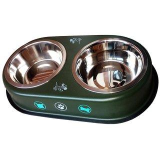 Petshop7 Green 950 Ml Dog Bowl  Double Dinner Set Stainless Steel Feeding Bowl