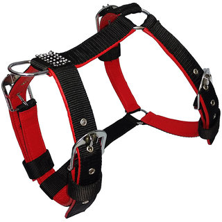 Petshop7 Export Quality Nylon Dog Harness Black with Red Padding 0.75 inch  Small