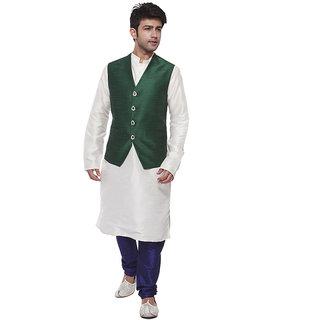 Amora Designer Green & White Blended Silk Ethnic Set Of Koti, Kurta And Churidar For Men