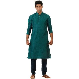 Amora Designer Ethnic Turquoise Solid Blended Khadi Fabric Straight Kurta For Men