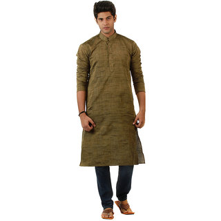 Amora Designer Ethnic Rust Brown Solid Blended Khadi Straight Kurta For Men