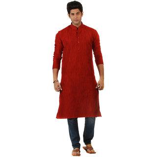 Amora Designer Ethnic Red Solid Blended Khadi Straight Kurta For Men