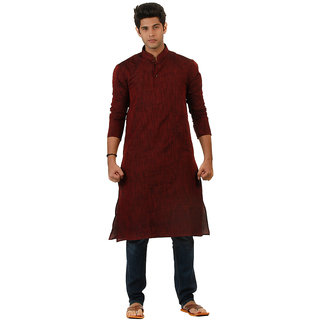 Amora Designer Ethnic Maroon Solid Blended Khadi Straight Kurta For Men