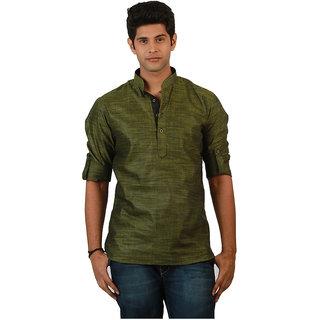 Amora Designer Ethnic Light Green Solid Blended Linen Straight Short Kurta For Men