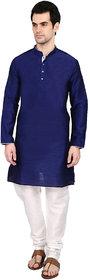 indian ATTIRE Ethnic Blended Silk Royal Blue Kurta And White Churidar For Men