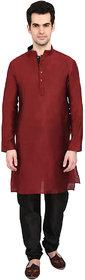 indian ATTIRE Blended Silk Embellished Marron Kurta And Black Churidar For Men