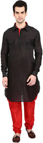 indian ATTIRE Ethnic Blended Silk Solid Black Pattani And Red Churidar For Men