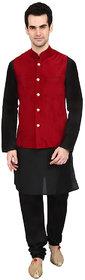 indian ATTIRE Maroon Blended Silk Koti (Waistcoat) and Black Kurta Churidar Men