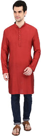 indian ATTIRE Designer Ethnic Blended Silk Dark Red Solid Straight Kurta For Men