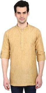 indian ATTIRE Ethnic Blended Short Solid Gold Straight Kurta For Men