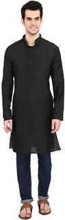indian ATTIRE Designer Ethnic Blended Silk Black Solid Straight Kurta For Men