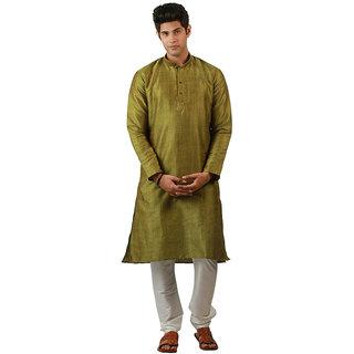 Amora Designer Ethnic Green Blended Silk Kurta  For Men
