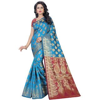 Fashions World Red Banarasi Silk Floral Saree With Blouse