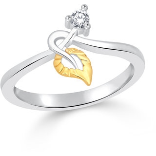 Classic Leaf & Stone CZ Gold and Rhodium  Plated Ring for Women Size16 [CJ1072FRRG16]