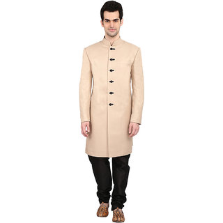 indian ATTIRE Designer Ethnic Blended Jute Cream Indo-Western Sherwani For Men