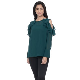 702afc431fc31 Buy By The Wear ruffled cold shoulder top Teal Online - Get 20% Off