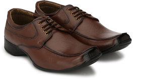 Groofer Men's Brown Lace up Formal Shoes