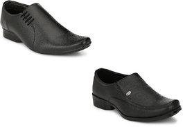 Groofer Men's Black Formal Slip on ShoesCombo