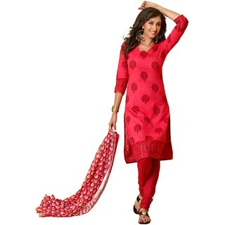 EthnicVibe Cotton Printed Dress Material Red Color