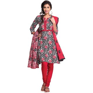 EthnicVibe Cotton Printed Dress Material Red Black - Colour