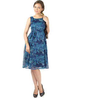 Magnetic Designs Blue Printed Midi Dress