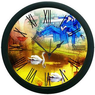 meSleep Yellow Couple Wall Clock (With Glass)