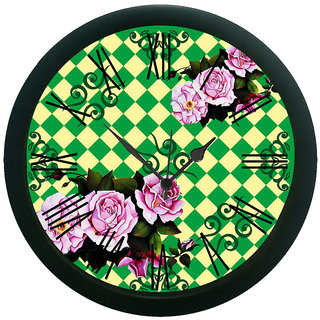 meSleep Green Rose Wall Clock (With Glass)